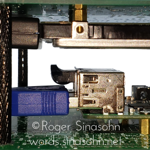 Detail, showing empty space between the hard drive and Raspberry Pi